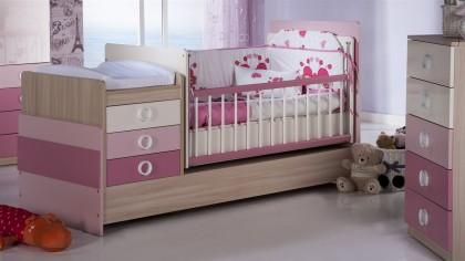Patut Bebe Portivo Pink  Set Mobilier Bebe