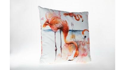 Husă de pernă imprimată cu model Flamingo FLG03 45x45 - Alb DOQU Home textile 2Q9KKDK0000FLG030